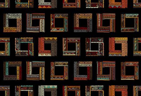 Abstract ethnic frames, seamless pattern for your design 矢量图像