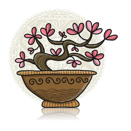 Floral tree in pot, Asian style