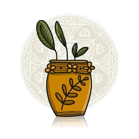 Plant in pot, Asian style Illusztráció
