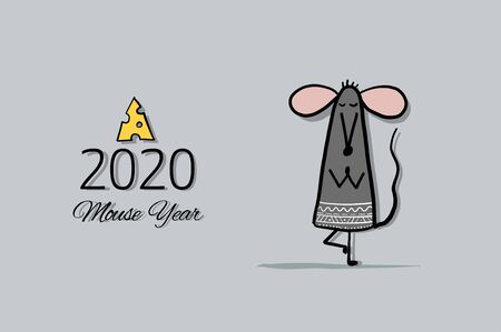 Funny mouse, symbol of 2020 year. Banner for your design 矢量图像