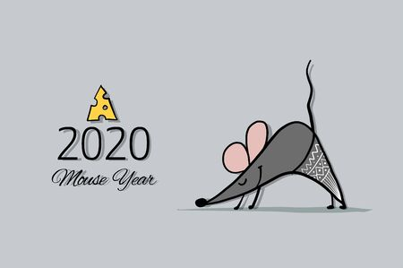 Funny mouse, symbol of 2020 year. Banner for your design Foto de archivo - 126090012