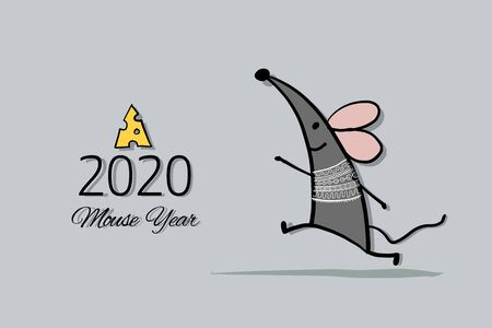 Funny mouse, symbol of 2020 year. Banner for your design Foto de archivo - 126090015