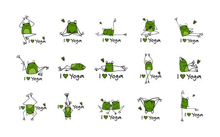 Funny yoga frogs, sketch for your design