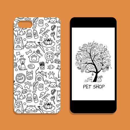 Diseño de la cubierta del teléfono móvil, identidad de la tienda de mascotas. Ilustración vectorial Ilustración de vector