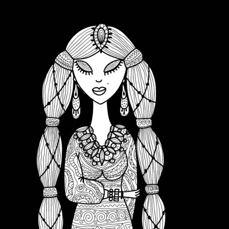 Female beauty, sketch for your design. Vector illustration