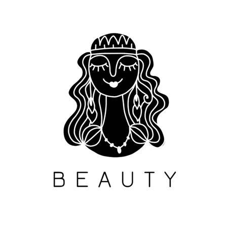 Beauty salon, spa logo. Female face