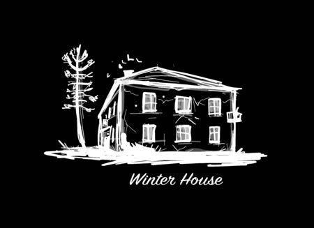 Old winter house, sketch for your design