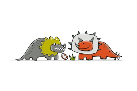 Funny dinosaurs, childish style for your design. Vector illustration