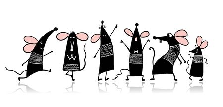 Funny mouse family, symbol of 2020 year. Banner for your design 일러스트