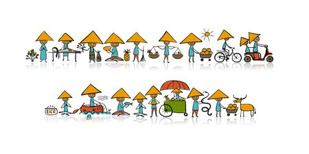 Asian lifestyle, people characters for your design Banque d'images - 126469045