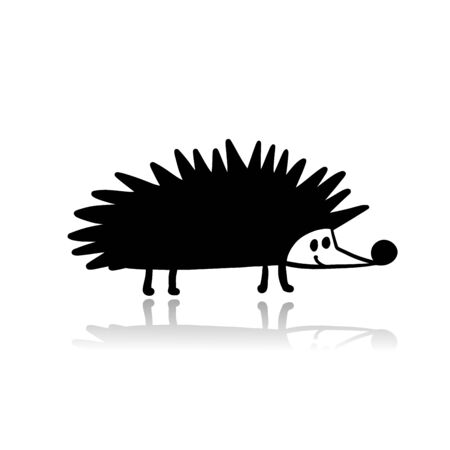 Funny hedgehog, black silhouette for your design