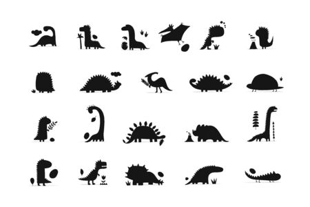 Funny dinosaurs collection, childish style. Sketch for your design