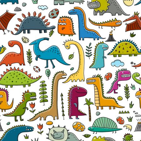 Funny dinosaurs, childish style. Seamless pattern for your design. Vector illustration Stock Vector - 128175251