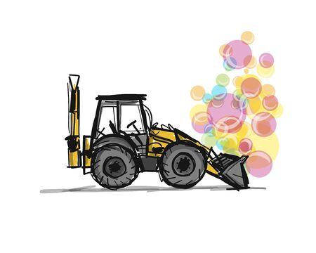 Escavator, croquis pour votre conception. Illustration vectorielle