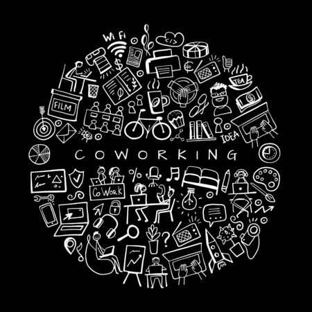 Coworking space, concept background for your design. Vector illustration Illustration