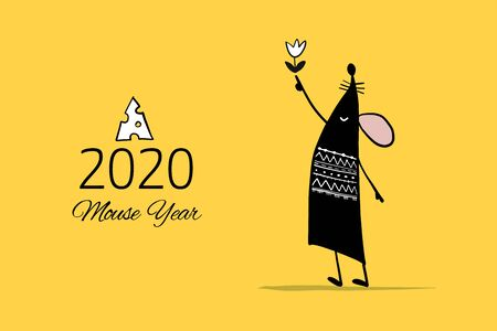 Funny mouse, symbol of 2020 year. Banner for your design Vettoriali