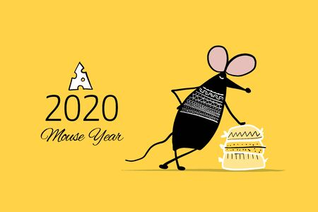 Funny mouse, symbol of 2020 year. Banner for your design Ilustrace