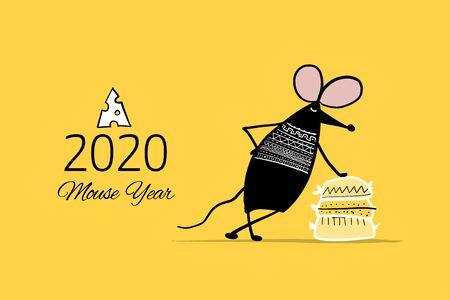 Ratón divertido, símbolo del año 2020. Banner para su diseño