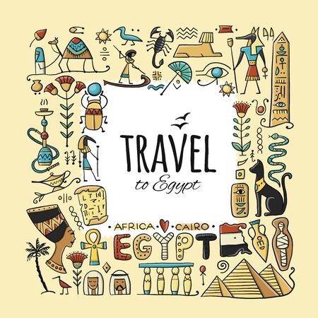 Travel to Egypt. Greeting card for your design Ilustracja