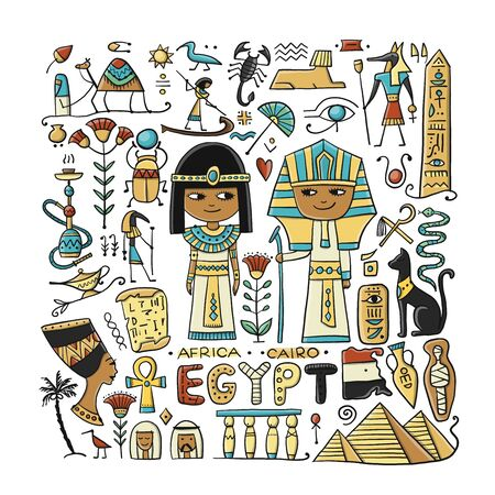 Travel to Egypt. Greeting card for your design Stock Illustratie