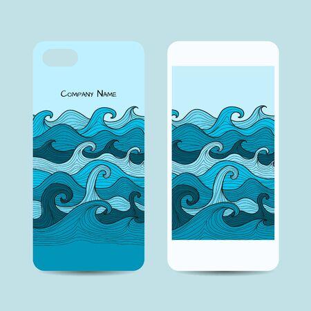 Mobile phone cover design, sea waves background. Vector illustration Ilustração Vetorial