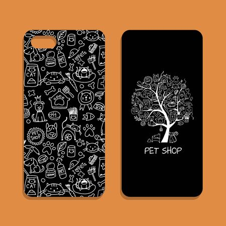Mobile phone cover design, pet shop identity. Vector illustration Ilustração Vetorial