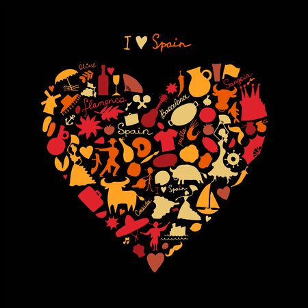 Spain love, art heart shape. Sketch for your design. Vector illustration
