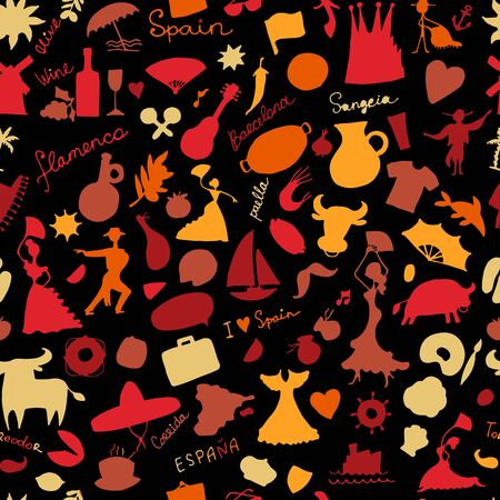 Spain, seamless pattern for your design. Vector illustration