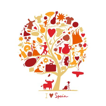 Art tree with spain symbols for your design. Vector illustration