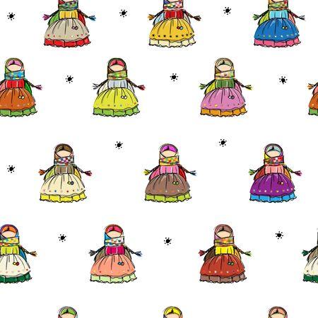 Handmade folk doll mascot, seamless pattern for your design