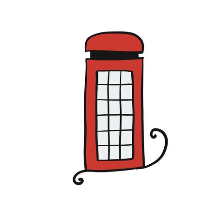 London phone box, sketch for your design. Vector illustration