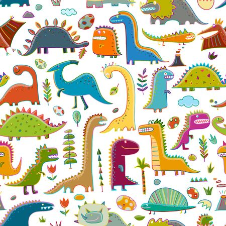Funny dinosaurs, childish style. Seamless pattern for your design. Vector illustration Stock Vector - 128175338