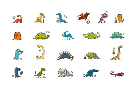 Funny dinosaurs collection, childish style for your design
