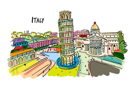 Leaning tower of Pisa, Italy. Sketch for your design. Vector illustration