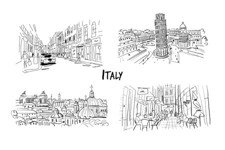 Italy streets collection. Sketch for your design. Vector illustration Stock Vector - 128175345
