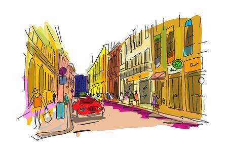 Street, sketch for your design. Vector illustration Иллюстрация