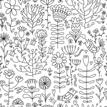 Floral seamless pattern, sketch for your design Stock fotó - 127093883
