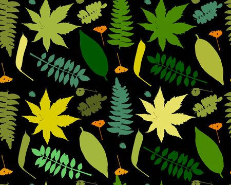 Leaves and plants, seamless pattern for your design. Vector illustration