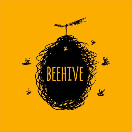 Beehive with bees, sketch, art for your design Иллюстрация