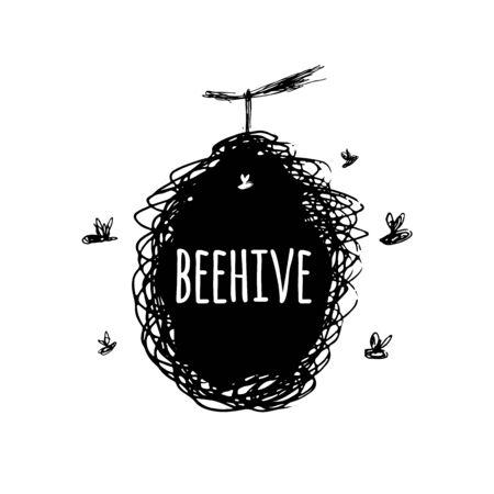 Ruche avec des abeilles, croquis, art pour votre conception Vecteurs