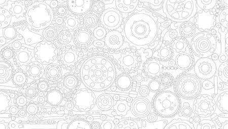 Auto spare parts and gears, seamless pattern for your design. Vector illustration Foto de archivo - 128175374