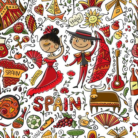 Travel to Spain. Seamless pattern for your design. Vector illustration
