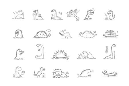 Funny dinosaurs collection, childish style. Coloring page for your design Illustration