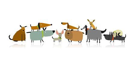 Familia de perros lindos, boceto de su diseño Ilustración de vector