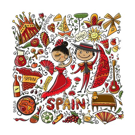 Travel to Spain. Greeting card for your design. Vector illustration