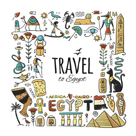 Travel to Egypt. Greeting card for your design Standard-Bild - 128175391