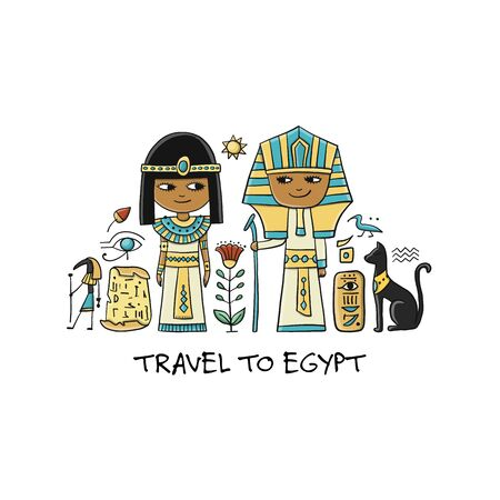 Travel to Egypt. Greeting card for your design Standard-Bild - 128175392