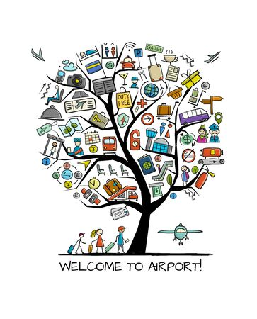 Airport tree concept, background for your design