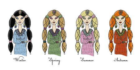 Female beauty, four seasons concept for your design. Vector illustration