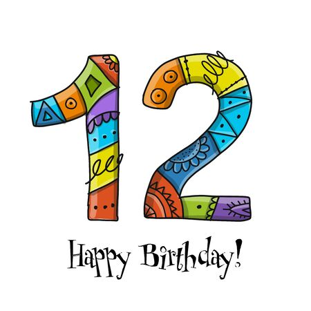 12th anniversary celebration. Greeting card template Illustration